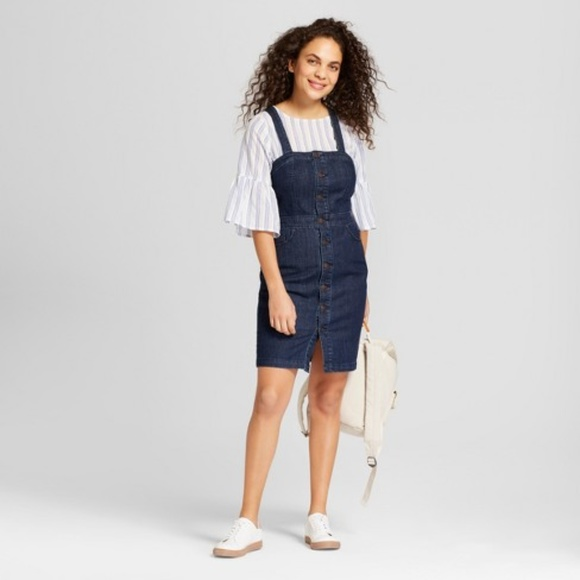 0de548c65c3 Universal Thread Button Front Apron Denim Dress